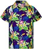 King Kameha Funky Hawaiihemd, Kurzarm, Parrot Cockatoo, Violett, 3XL