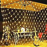 Solar Lichternetz, LED Lichterkette Netz, Warmweiß Lichterkettennetz, 8 Modi Lichtervorhang für Innen Deko, Netzlicht für Weihnachten Hochzeit Party Kaufhaus Balkon Bäume Terrasse (1.1*1.1m 100LED)