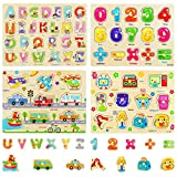 4 Stück Holzpuzzle für Kinder,Alphabet Nummer Holzpuzzle,Fahrzeuge Holzpuzzle,Holzpuzzle Steckpuzzle,Puzzle Hölzernes Spielzeug,Lernspielzeug Geschenk
