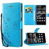 iDoer Hülle Kompatibel Mit Huawei P8 Schmetterling Leder Case Schutzhülle B