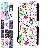 Ancase Lederhülle kompatibel für Apple iPhone 7 Plus / 8 Plus Hülle Flamingo-Sommer Muster Handyhülle Flip Case Cover Schutzhülle mit Kartenfach Ledertasche für Mädchen Damen