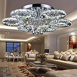 fsders VINGO 88W LED Kristall Deckenleuchte Deckenlampe Modern Kronleuchter Pendelleuchte Hängeleuchte Energie Sparen einstellbar für Wohnzimmer Küchen Schlafzimmer mit Fernbedienung, Glas, 12 W