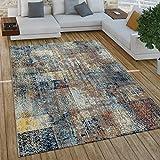 Paco Home Wohnzimmer Teppich Im Vintage Used Look, Industrial Style Kurzflor in Rostfarben, Grösse:160x220 cm, Farbe:Mehrfarbig 2