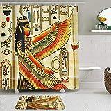 AIKIBELL 2-teiliges Duschvorhang-und Matten-Set,Papyrus ägyptische alte Geschichte,rutschfeste Teppiche,wasserdichte Badvorhänge mit 12 Haken