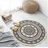 Sarah Duke Mandala Runde Teppich mit Quasten böhmische Handwebteppich Retro Runder Baumwollteppich Abwaschbar In- und Outdoor für Wohnzimmer Schlafzimmerteppich (A1,92 x 92cm)