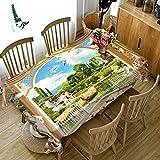 Dreamdge Tischdecke Grün Landschaftstaube, Tischdecke Esstisch Wasserdicht Tischtuch Polyester 85x85