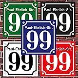 3mm Hausnummernschild Hausnummer Straßenname in'Emaille Design' Alt optl. mit Abstandhalter
