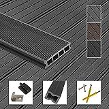 Montafox WPC Terrassendielen Dielen Komplettset Hohlkammerdiele Komplettbausatz Unterkonstruktion Clips, Größe (Fläche):60 m² 4m, Farbe:G