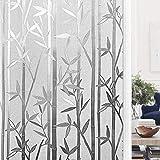 LMKJ Undurchsichtige Fensterfolie aus Bambus und Holz, elektrostatische Selbstklebende Milchglasaufkleber für den Haushalt A10 50x200