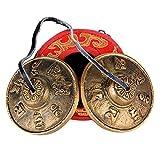 (Durchmesser: 6,5cm) Zimbeln + Schutzhülle (rot) Tibetische Meditation Glocke Tingsha mit gravierten Symbolen für selbst Heilung Yoga und Meditation Gebet religiöse Geschenk