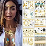 Flash Tattoos – Meersee Temporäre Klebe-Tattoos 10er Set Metallic Flash Tattoos in Gold und Silber Temporäre Tätowierung Wasserdichte