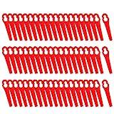 FORMIZON 60 Stück Rasenmäherklinge Kunststoff Ersatzmesser Gras Kunststoffmesser für Akku-Rasentrimmer ART 23-18Li Art 26-18Li, Rot