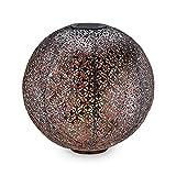 Navaris LED Solar Kugel aus Metall - 30 x 30cm - mit Erdspieß - Garten Solarkugel Leuchte - Orientalische Solar Kugelleuchte - Silber