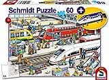 Schmidt Spiele Puzzle 56328 Am Bahnhof, inklusive Kofferanhänger Schnellzug, Kinderpuzzle, 60 Teile, bunt
