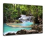 Bilderdepot24 Bild auf Leinwand   Wasserfall im Wald in 40x30 cm als Wandbild   Wand-deko Dekoration Wohnung modern Bilder   170605