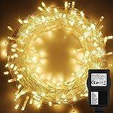 LED Lichterkette ,CHINS 100 LEDs 10M Lichterkette Weihnachten mit Stecker , Wasserdichte IP44 ,8 Leuchtmodi warmweiß für Weihnachtsbaum, Party, Hochzeit, Terrasse, Innen/Außen Dek