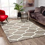 SANAT Madrid Shaggy Teppich - Hochflor Teppiche für Wohnzimmer, Schlafzimmer, Küche - Morocco Grau, Größe: 80x150 cm