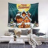 Santa Claus In Rentierschlitten Print Tapisserie Wandbehang für Schlafzimmer, Wohnheim, College Home Horizontale Version (60 x 51 Zoll) -Black-One S
