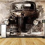 Bilder Vlies Leinwandbild Retro Auto, Hochauflösendes Wasserfall-Poster Xxl, Natur Poster In Hd, Großes Fotoposter Wanddekoration (W200 X H150Cm).