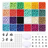 Size 6/0 Crafts Glass Seed Beads 4mm Tiny Pony Beads, Round Letter Beads 4x7mm Assorted Kit with Organizer Box for Jewelry Making (24 Assorted Multicolor Set, Total About 3480pcs)