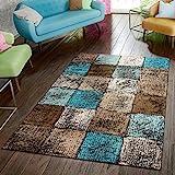 Paco Home Designer Teppich Wohnzimmer Ausgefallene Farbkombination Karo Türkis Braun Creme, Grösse:120x170