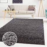 ayshaggy Shaggy Teppich Hochflor Langflor Einfarbig Uni Dunkelgrau Weich Flauschig Wohnzimmer, Größe: 120 x 170 cm