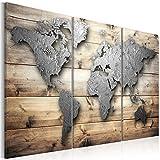 murando - Bilder Weltkarte 135x90 cm Vlies Leinwandbild 3 Teilig Kunstdruck modern Wandbilder XXL Wanddekoration Design Wand Bild - Holz Textur Kontinent k-C-0011-b-e