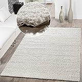 T&T Design Shaggy Teppich Hochflor Langflor Teppiche Wohnzimmer Preishammer versch. Farben, Farbe:Creme, Größe:70x140 cm