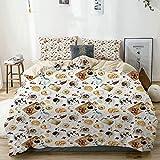 Smallgrid Bettbezug Set Beige, Brown Croissant Bagels Kaffeedruck, Dekoratives 3-teiliges Bettwäscheset mit 2 Kissenbezügen Pflegeleicht Antiallergisch Weich Glatt