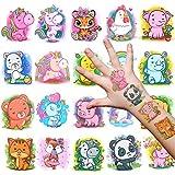Qpout 20 Blätter Zoo Tier Tattoos für Kinder Mädchen Junge, Einhorn   Panda   Elefant Aufkleber Sticker Perfekt für Kinder Spielen Mitgebsel Kindergeburtstag Geschenktüten