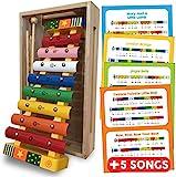 Xylophon Baby und Kinder holz spielzeug, Glockenspiel Percussion Musikinstrument für Kleinkinder mit Musik Blatts (englisch), mit bunten Metalltasten und zwei hölzernen Schlägeln und Holzkiste präsentiert - Baby und Kleinkind Musikinstrumente Spielzeug Geschenk