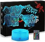 3D-Nachtlicht für Kinder, Elefanten-Controller, Nachtlicht mit Touch-Steuerung, Weihnachtsgeschenk für Kinder