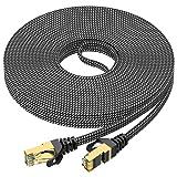 10m Lan Kabel, Cat 7 Netzwerkkabel 10meter Flach Hochgeschwindigkeits 10Gbit/s 600MHz Nylon geflochtener RJ45 Ethernet Kabel professioneller vergoldeter STP Wlan Kabel für Router, Modem, Switch