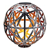 Navaris LED Solar Kugel aus Metall - 30 x 30cm - mit Erdspieß - Garten Solarkugel Leuchte - Moderne LED Solar Kugelleuchte - Silber