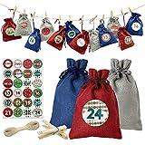 YIKANWEN Adventskalender zum Befüllen Stoff 24 Stück - Weihnachtskalender Jutesäckchen aus Sackleinen mit Zahlen Aufkleber