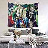 IUBBKI Wandteppiche Wandteppiche JOK-Er and Harle-Y Quinn Tapestry Wall Hanging Bedroom Home Decor for Living Room 59 X 59 Inches