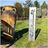 teileplus24 GS01 Willkommen Gartenstecker Gartenschild | Edelrost Garten Deko |3D Abkantung | 120cm x 21cm, Design:BlumenRanken