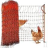 Agrarzone Geflügelnetz Geflügelzaun mit Strom orange 25m x 112cm | Elektrozaun Elektronetz mit Doppelspitze & Pfähle | geringe Maschenweite & robust | Hühnerzaun Weidezaun für sichere Geflügelhaltung