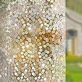 LMKJ 3D statische Glasfolie rundes Muster ohne Kleber gemalt Badezimmer Wohnzimmer Wohnkultur Glasfolie A62 50x100cm