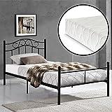 [en.casa] Metallbett 90x200 schwarz mit Matratze Bett Jugendbett Metall
