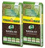 Floragard 4 in 1 Rasen-Fit 2x20 L für 20 m² • Rasenerde • Rasensubstrat zur Neuanlage • zur Ausbesserung und Pflege des Rasens • zum Topdressing nach dem Vertik
