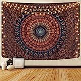 Alishomtll Mandala Wandbehang Bohemian Wandteppich Sandtuch Tapisserie Yoga psychedelisch Deko Tuch Tapestry groß Tischdecke 150 x 150cm