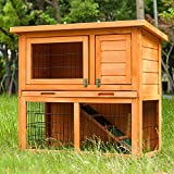 QWEPOI Holz Kaninchenstall, 2-stöckiges Hasenstall, Haustier Garten Duplex Haus, mit geneigtem wetterfestem Dach, Rampe, Tablett, Wasserflaschensicherung, geeignet für drinnen