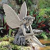 Elfen Gartendeko Engel Harz Gartenstatuen,Harz Sitzen Fee Gartenfiguren,Elfen Figuren Deko Elf Statue,Ornamente für Terrasse, Vorgarten, Rasen (A)