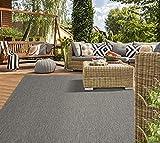 Mia´s Teppiche Lara Flachgewebe In-& Outdoor Teppich UV-und Witterungsbeständig Anthrazit 200x280, 100% Polypropylen, 200x280 cm