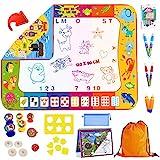 Magischer Teppich für Kinder, 2 Seiten, 120 x 90 cm, mit Zubehör, Lernspielzeug, Wasserspielzeug Doodle Mat für Zeichnungen, Spielteppich, Kinderspielzeug, 3 Jahre, Geschenkidee registriertes Design®