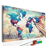 murando - Malen nach Zahlen Weltkarte 60x40 cm Malset mit Holzrahmen auf Leinwand für Erwachsene Kinder Gemälde Handgemalt Kit DIY Geschenk Dekoration n-A-0231-d-a