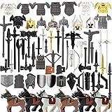 WWEI 72St. Ritter Helm, Ritter Rüstung und Custom Waffen Set für Mini Ritter Figuren SWAT Polizei, kompatibel mit Lego