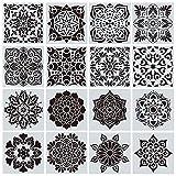 MCTY Mandala-Schablonen, 16 Stück, wiederverwendbare Schablonen, Mandala-Dotting-Malerei-Werkzeug, Malvorlagen für DIY Wände, Türen, Möbel, Sprühblumen-Form