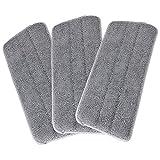 LEARJA 3 Stück Mikrofaser-Wischpads – wiederverwendbare Bodenwischer-Pads – geeignet für Klett-Mopp-Köpfe, waschbare Mikrofaser-Wischmopp-Kleidung, 41,5 x 0,6 x 13 cm, grau (3 Stück)